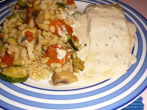Ebly mit Gemüse und Lachs